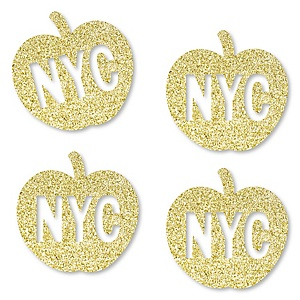 Gold Glitter NYC Apple - No-Mess Real Gold Glitter Cut-Outs - New York City Party Confetti - Set of 24