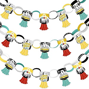 NYC Cityscape - 90 Chain Links and 30 Paper Tassels Decoration Kit - New York City Party Paper Chains Garland - 21 feet
