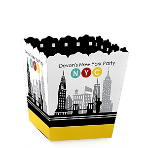 NYC Cityscape - Party Mini Favor Boxes - Personalized New York City Party Treat Candy Boxes - Set of 12
