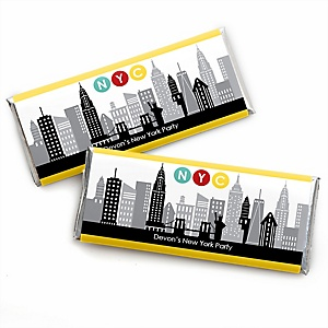 NYC Cityscape - Personalized Candy Bar Wrapper New York City Party Favors - Set of 24