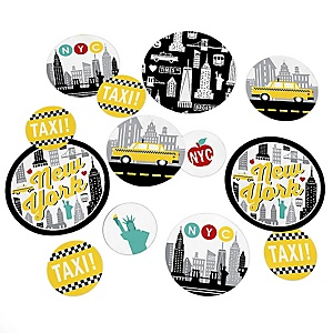 NYC Cityscape - New York City Party Giant Circle Confetti - Party Decorations - Large Confetti 27 Count