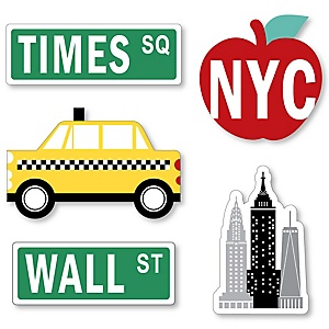 NYC Cityscape - DIY Shaped New York City Party Cut-Outs - 24 ct