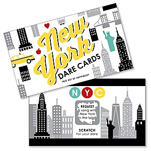 NYC Cityscape - New York City Party Game Scratch Off Dare Cards - 22 Count