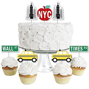 NYC Cityscape - Dessert Cupcake Toppers - New York City Party Clear Treat Picks - Set of 24