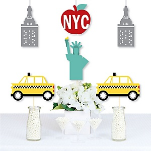 NYC Cityscape - Big Apple, Taxi, Skyscraper and Lady Liberty Decorations DIY New York City Party Essentials - Set of 20