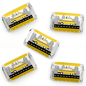 NYC Cityscape - Mini Candy Bar Wrapper Stickers - New York City Party Small Favors - 40 Count