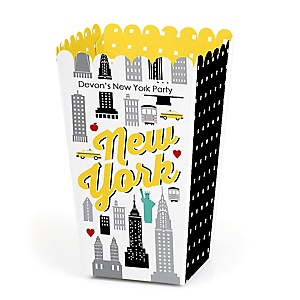 NYC Cityscape - Personalized New York City Party Popcorn Favor Treat Boxes - Set of 12