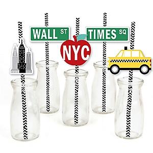 NYC Cityscape - Paper Straw Decor - New York City Party Striped Decorative Straws - Set of 24