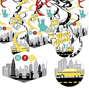 NYC Cityscape - New York City Party Hanging Decor - Party Decoration Swirls - Set of 40