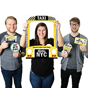 NYC Cityscape - Personalized New York City Party Selfie Photo Booth Picture Frame & Props - Printed on Sturdy Material