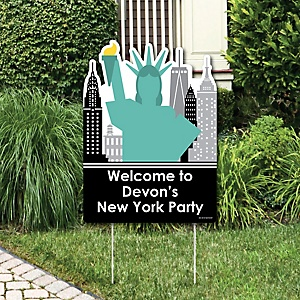 NYC Cityscape - Party Decorations - New York City Party Personalized Welcome Yard Sign
