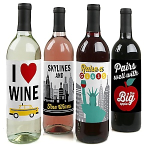 NYC Cityscape - New York City Party Decorations for Women and Men - Wine Bottle Label Stickers - Set of 4