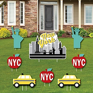 NYC Cityscape - Yard Sign & Outdoor Lawn Decorations - New York City Party Yard Signs - Set of 8