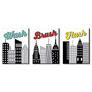 NYC Cityscape - Kids Bathroom Rules Wall Art - 7.5 x 10 inches - Set of 3 Signs - Wash, Brush, Flush