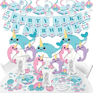 Narwhal Girl - Under The Sea Baby Shower or Birthday Party Supplies - Banner Decoration Kit - Fundle Bundle