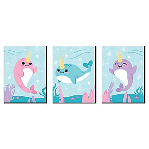 Narwhal Girl - Girl Under The Sea Nursery Wall Art and Kids Room Décor - 7.5 x 10 inches - Set of 3 Prints
