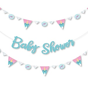Narwhal Girl - Under The Sea Baby Shower Letter Banner Decoration - 36 Banner Cutouts and Baby Shower Banner Letters
