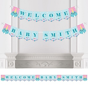 Narwhal Girl - Personalized Under The Sea Baby Shower Bunting Banner and Decorations