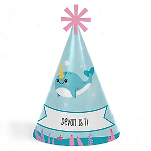 Narwhal Girl - Personalized Cone Happy Birthday Party Hats for Kids and Adults - Set of 8 (Standard Size)