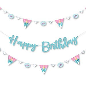 Narwhal Girl - Under The Sea Birthday Party Letter Banner Decoration - 36 Banner Cutouts and Happy Birthday Banner Letters