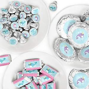 Narwhal Girl - Mini Candy Bar Wrappers, Round Candy Stickers and Circle Stickers - Under The Sea Baby Shower or Birthday Party Candy Favor Sticker Kit - 304 Pieces