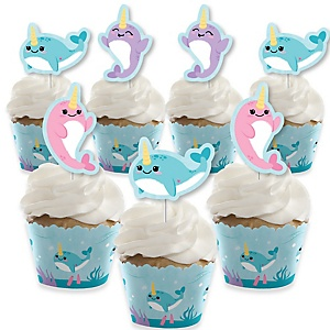 Narwhal Girl - Cupcake Decoration - Under The Sea Baby Shower or Birthday Party Cupcake Wrappers and Treat Picks Kit - Set of 24