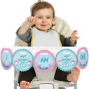 Narwhal Girl 1st Birthday - I am One - First Birthday High Chair Banner