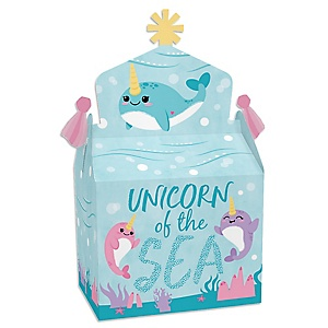Narwhal Girl - Treat Box Party Favors - Under The Sea Baby Shower or Birthday Party Goodie Gable Boxes - Set of 12