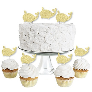 Gold Glitter Narwhal - No-Mess Real Gold Glitter Dessert Cupcake Toppers - Under The Sea Clear Treat Picks - Set of 24