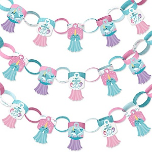 Narwhal Girl - 90 Chain Links and 30 Paper Tassels Decoration Kit - Under The Sea Baby Shower or Birthday Party Paper Chains Garland - 21 feet