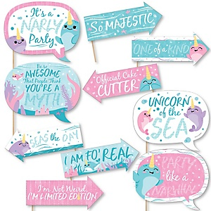 Funny Narwhal Girl - 10 Piece Under The Sea Baby Shower or Birthday Party Photo Booth Props Kit