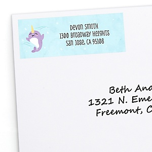 Narwhal Girl - Personalized Under The Sea Baby Shower or Birthday Party Return Address Labels - 30 ct
