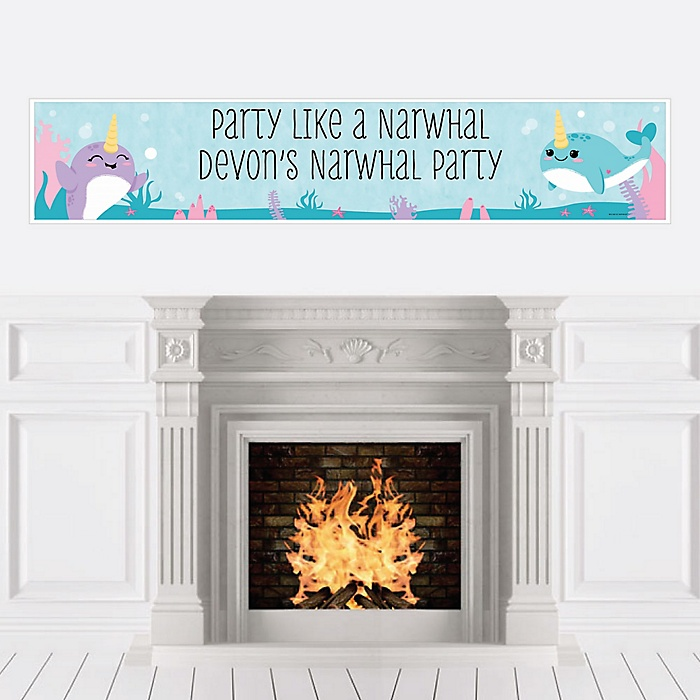 Narwhal Girl - Personalized Under The Sea Baby Shower or Birthday Party Banner