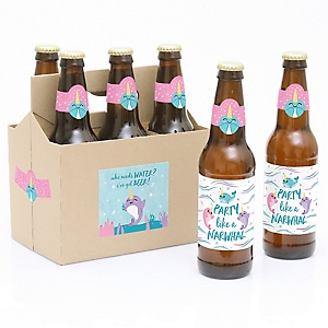 Narwhal Girl - Decorations for Women and Men - 6 Under The Sea Birthday Party Beer Bottle Label Stickers and 1 Carrier
