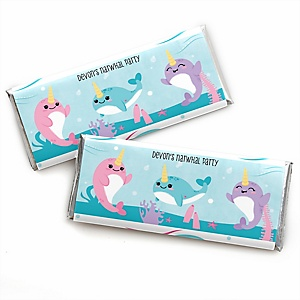 Narwhal Girl - Personalized Candy Bar Wrapper Under The Sea Baby Shower or Birthday Party Favors - Set of 24