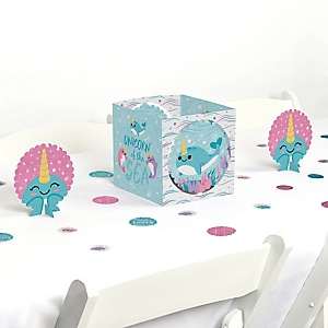 Narwhal Girl - Under The Sea Baby Shower or Birthday Party Centerpiece & Table Decoration Kit