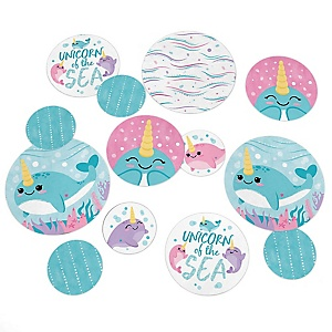 Narwhal Girl - Under The Sea Baby Shower or Birthday Party Giant Circle Confetti - Party Decorations - Large Confetti 27 Count