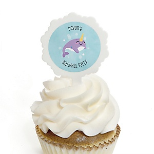Narwhal Girl - Personalized Under The Sea Party Cupcake Picks and Sticker Kit - 12 ct