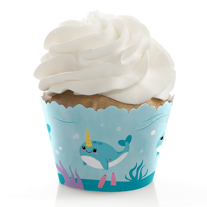 Narwhal Girl - Under The Sea Baby Shower or Birthday Party Decorations - Party Cupcake Wrappers - Set of 12