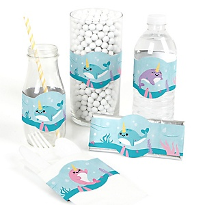 Narwhal Girl - DIY Party Supplies - Under The Sea Baby Shower or Birthday Party DIY Wrapper Favors and Decorations - Set of 15