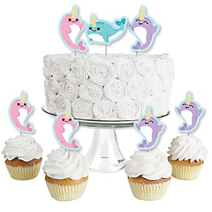Narwhal Girl - Dessert Cupcake Toppers - Under The Sea Baby Shower or Birthday Party Clear Treat Picks - Set of 24