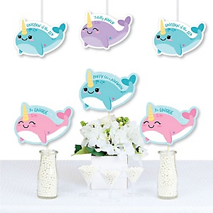 Narwhal Girl - Decorations DIY Under the Sea Baby Shower or Birthday Party Essentials - Set of 20