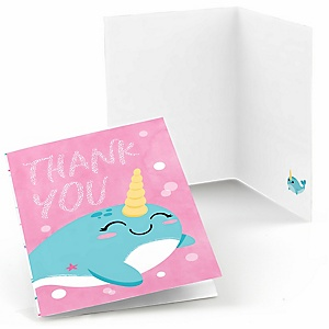 Narwhal Girl - Under The Sea Baby Shower or Birthday Party Thank You Cards  - 8 ct