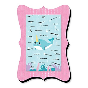 Narwhal Girl - Unique Alternative Guest Book - Under The Sea Baby Shower or Birthday Party Signature Mat