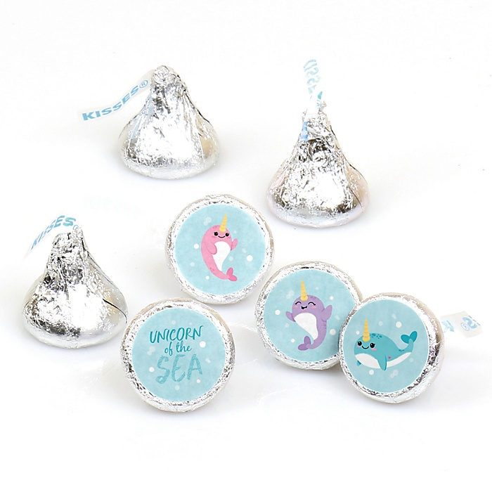 Narwhal Girl - Under The Sea Baby Shower or Birthday Party Round Candy Sticker Favors - Labels Fit Hershey's Kisses - 108 ct
