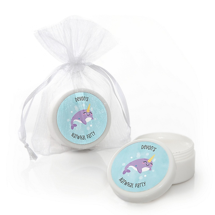 Narwhal Girl - Personalized Under The Sea Party Lip Balm Favors - Set of 12