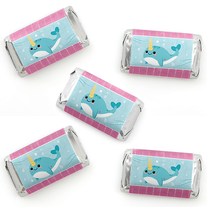 Narwhal Girl - Mini Candy Bar Wrappers Stickers - Under The Sea Baby Shower or Birthday Party Small Favors - 40 Count