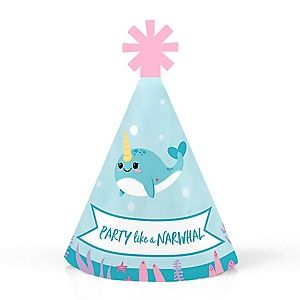 Narwhal Girl - Personalized Mini Cone Under The Sea Baby Shower or Birthday Party Hats - Small Little Party Hats - Set of 10