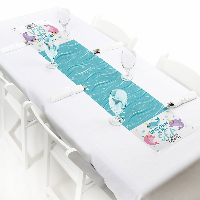 Narwhal Girl - Personalized Under The Sea Party Petite Table Runner