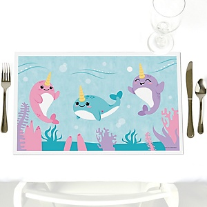 Narwhal Girl - Under The Sea - Party Table Decorations - Party Placemats - Set of 12
